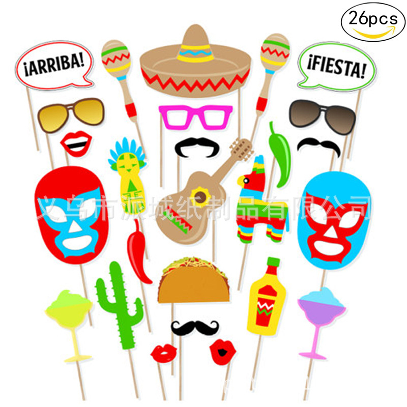26pcs Mexican Themed Photo Booth Prop Kit Decoration Photobooth Fiesta Themed Favor Party