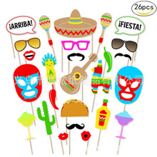 26pcs Mexican Themed Photo Booth Prop Kit Decoration Photobooth Fiesta Favor Party