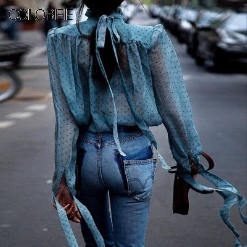 Piste boho chic top 2019 Vintage bleu à pois en mousseline de soie chemise volants élégant bureau dame chemises