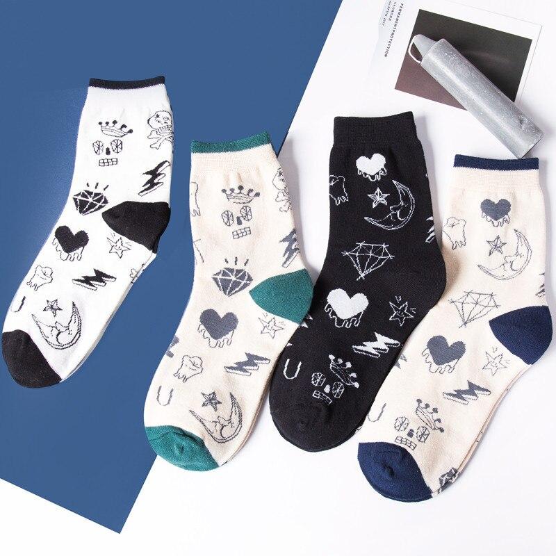 Frauen Socken Fun Socken Cartoon Print Cotton Socken Lovely cute Casual hn