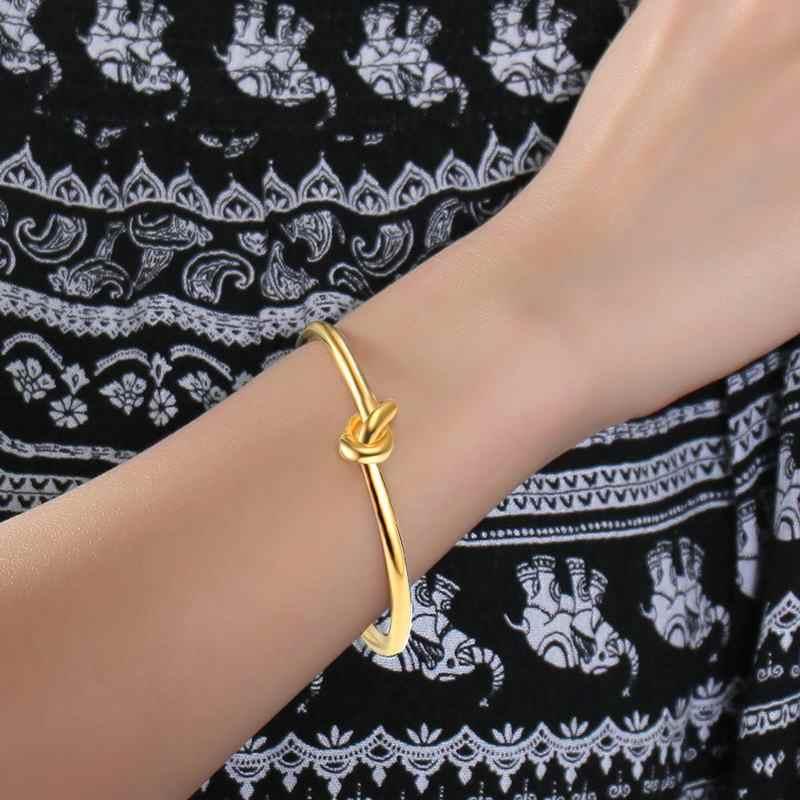 À la mode Rond Ouvert Noeud Bracelet Manchette bracelets pour femme Dame Bijoux Internode Brassard Pulseiras Cadeaux Féminins