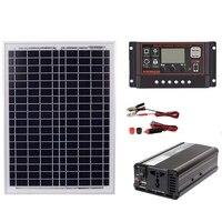 18V20W Solar Panel +12V / 24V Controller + 1500W Inverter Ac220V Kit, Suitable For Outdoor And Home Ac220V Solar Energy Savin