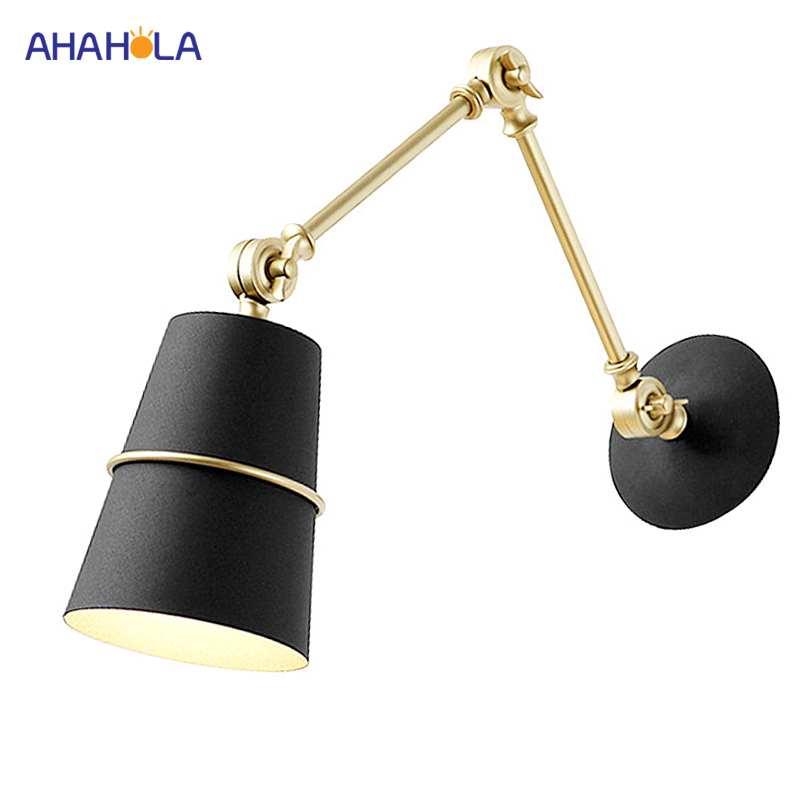 Modern Nordic Wall Lamp Black E27 Modern Led Wall Lamp Bedside Lamp 2 Arms Led Wall