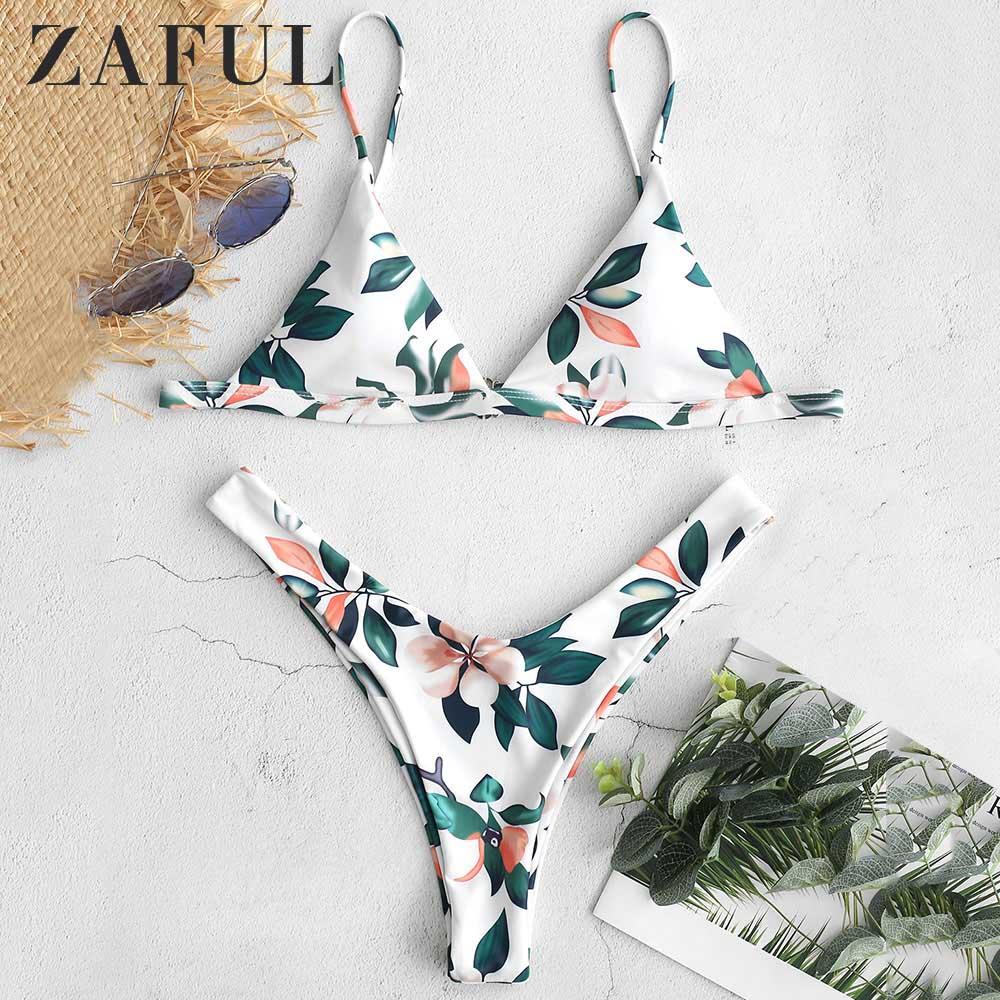 ZAFUL Leaf Print Plunge High Cut Bikini Set Spaghetti Straps Wire Free Padded Swim Suit Pullover Casual Beach Swimwear Biquini