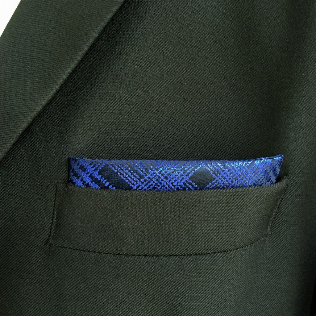 EH22 Mens Pocket Square Dark Blue Checkes Fashion Hanky Silk Classic Handkerchief Groom