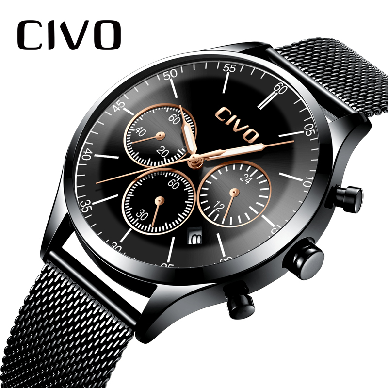 CIVO Top Brand Mens Watches Waterproof Chronograph Date Watch Military Simple Men Casual Steel Mesh Sports Quartz Wristwatch in Quartz Watches from Watches