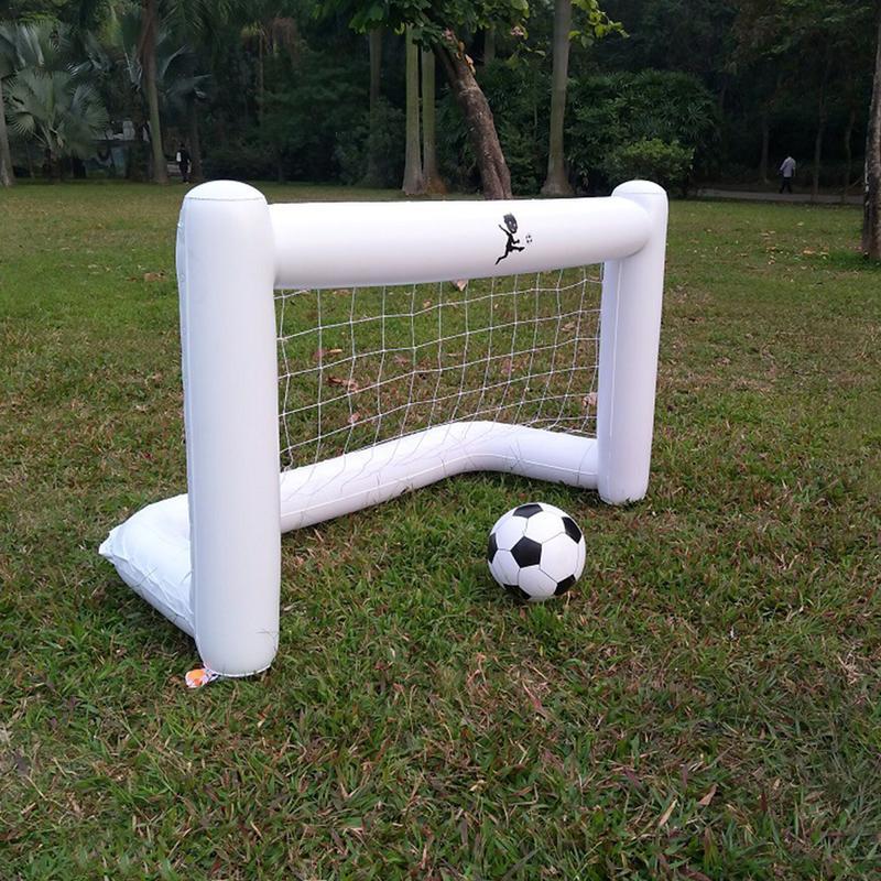 White Inflatable Soccer Net Environmental Friendly PVC Belt Net Inflatable Soccer Goal With Football 160*105*80cm