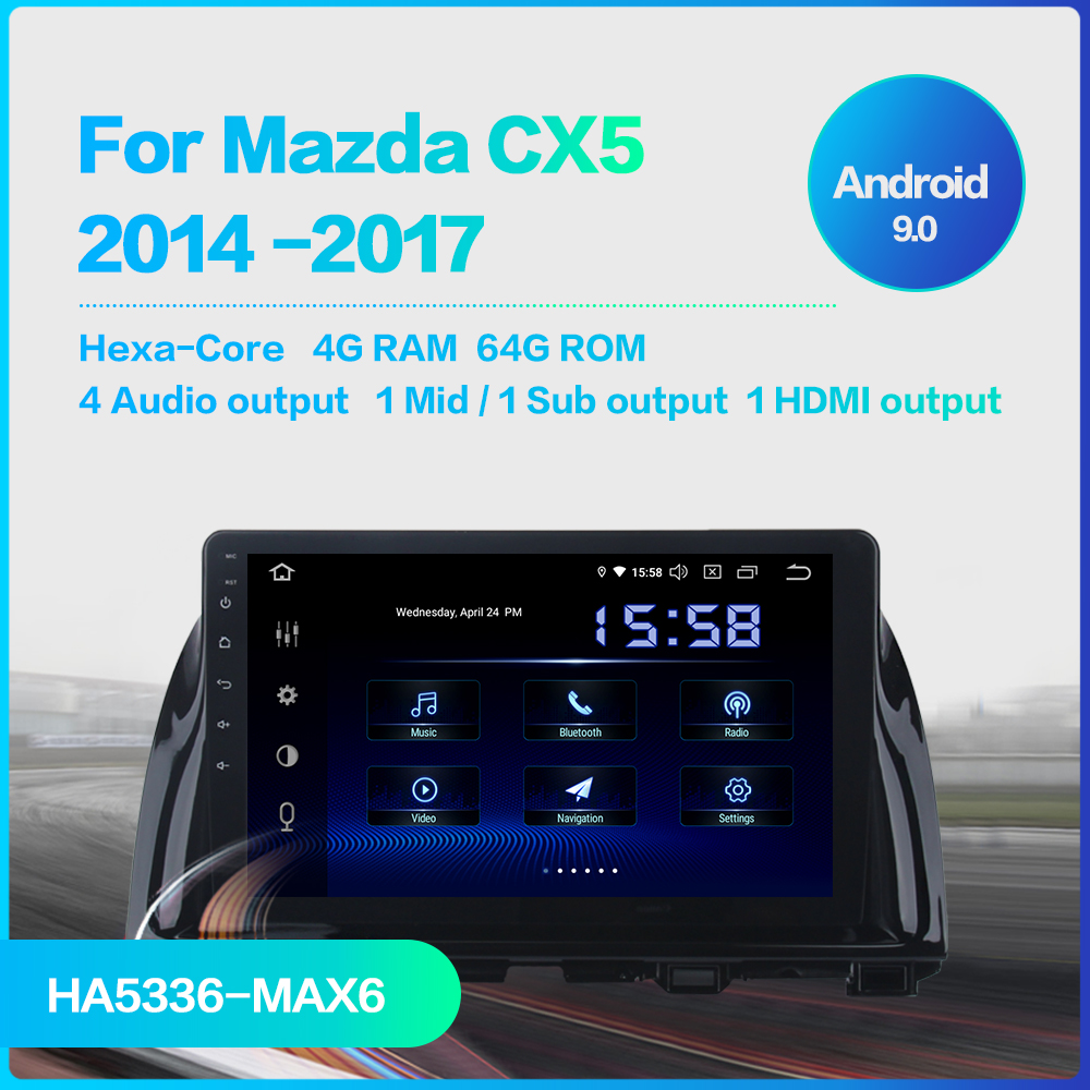 "Excellent Dasaita 1 Din Android 9.0 Car Navigation GPS for Mazda CX5 CX-5 2013 2014 2015 DSP 64GB ROM 10.2"" IPS Touch Screen 1"