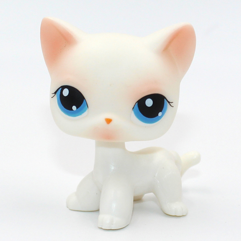 Rare Pet Shop Toys Cat #64 Mini Short Hair Standing Pink White Kitty Blue Eyes Child Gift Toys Figure Original