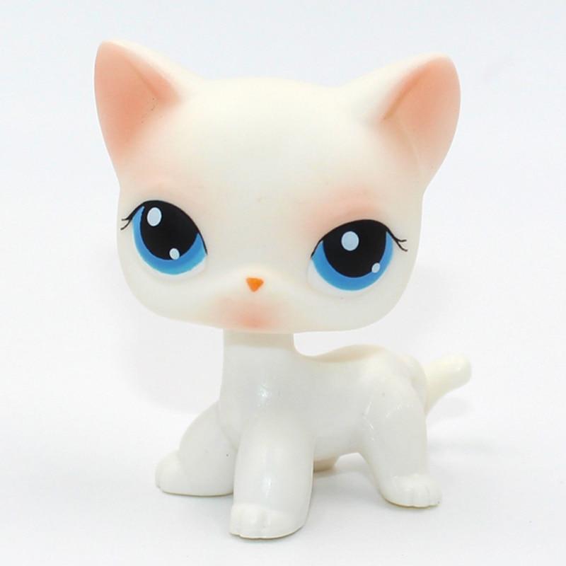 Rare Pet Shop Toys Cat #64 Mini Short Hair Standing Pink White Kitty Blue Eyes Child Gift Toys Figure Original