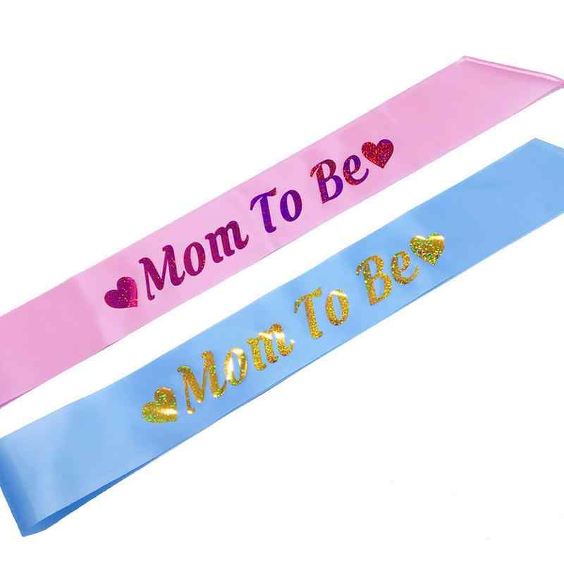 New Mom To Be Sash Cloth With Gold Glitter Fonts Belt High Quality Shoulder Strap Pregnant Woman Baby Shower Party Supplies
