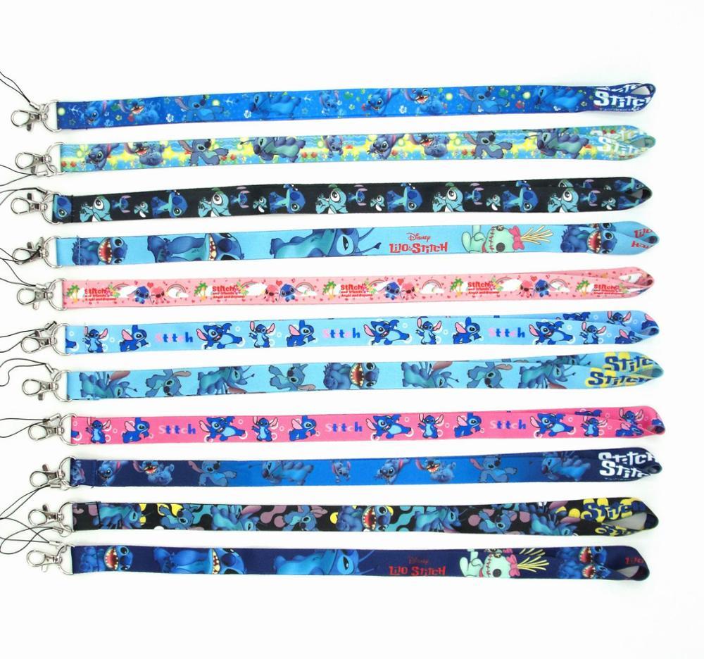 50 PCS Lilo Stitch key lanyards id badge holder keychain straps for mobile phone Free Shipping