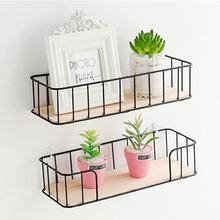 Bedroom Wall Hanging Iron Basket Storage Rack Innovative Wall Mounted Partition Shelf Punch-free Rack High Quality Durable