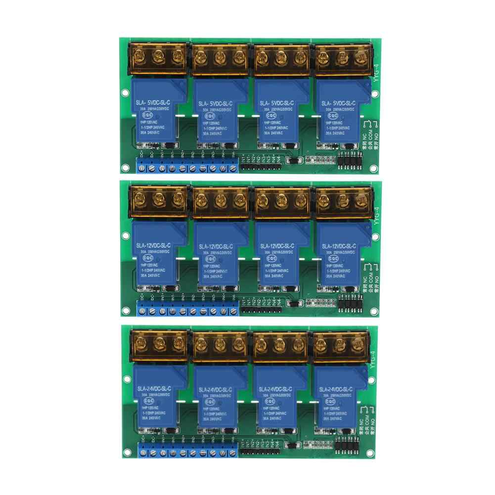 High Power Four Way Relay Module Control Panel Optocoupler Isolation 30A YYG-4 Four Way Relay Module
