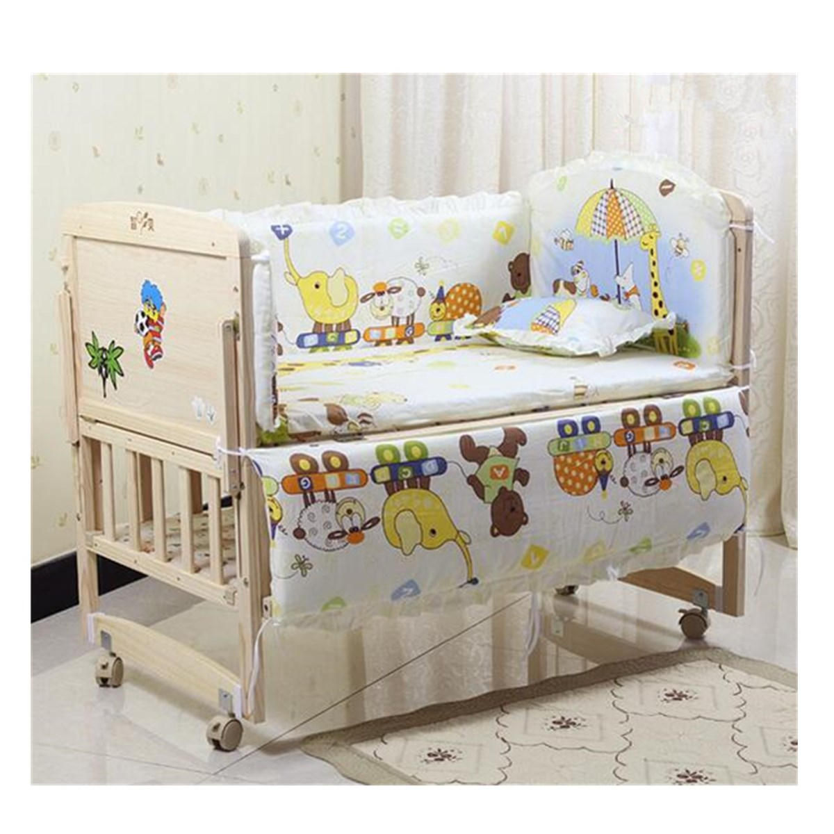 5pcs Baby Nursery Bedding Sets Cartoon Cot Bumper Cute Newborn Nursery Bedding Set Fit Infant Baby Crib Bedding Set 120x60cm5pcs Baby Nursery Bedding Sets Cartoon Cot Bumper Cute Newborn Nursery Bedding Set Fit Infant Baby Crib Bedding Set 120x60cm