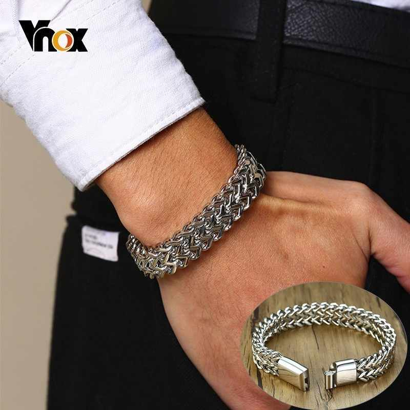 Vnox Punk 12.5mm Wave Link Chain Bracelets for Men Silver Stainless Steel Never Fade Wristband Rock Cool Male Pulseira