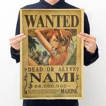 Jouets chauds une pièce Figure voulu affiche série artisanat impression autocollant Vintage film Playbill Luffy autocollants une pièce décoration