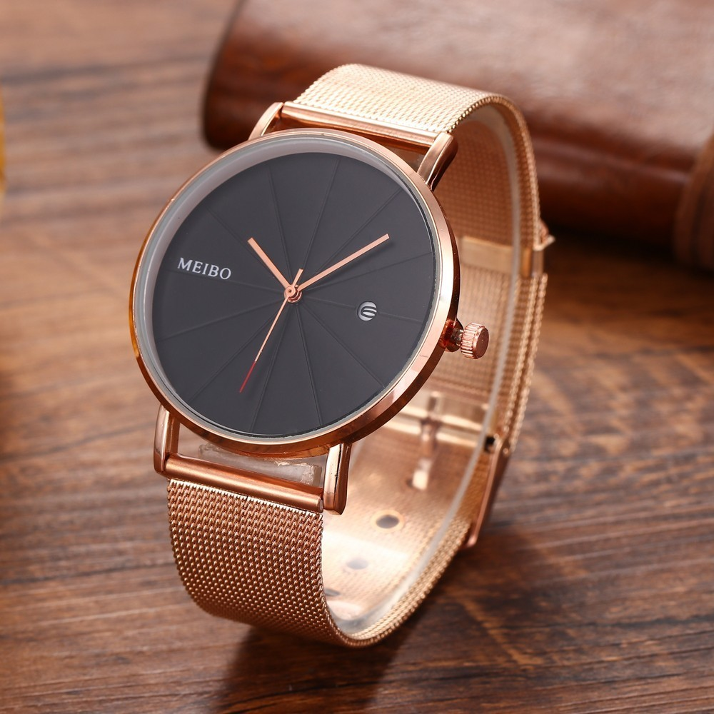 2018 Fashion Quartz Women Watches Female Clock Couple Alloy Mesh Belt Neutral Calendar Watch Montre Homme Relogio Lovers Gift