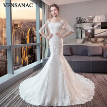 VENSANAC Scoop Neck Mermaid Illusion Half Sleeve Wedding Dresses Lace Appliques Court Train Backless Bridal Gowns