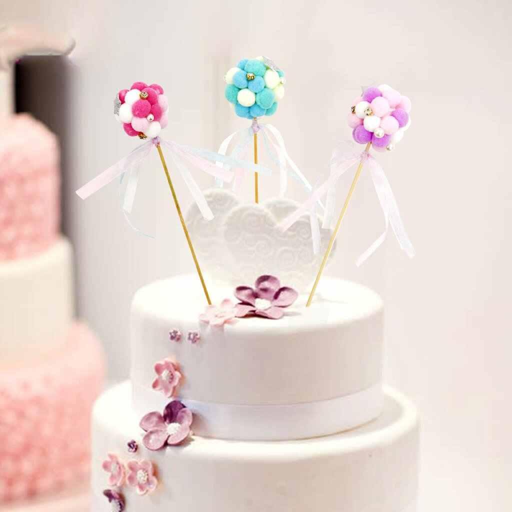 1 piezas 20x5 cm Decoración de Pastel para hornear Bola de Pelo flor pastelería boda tarjeta decorativa insertar cumpleaños Bola de Pelo topper de la torta