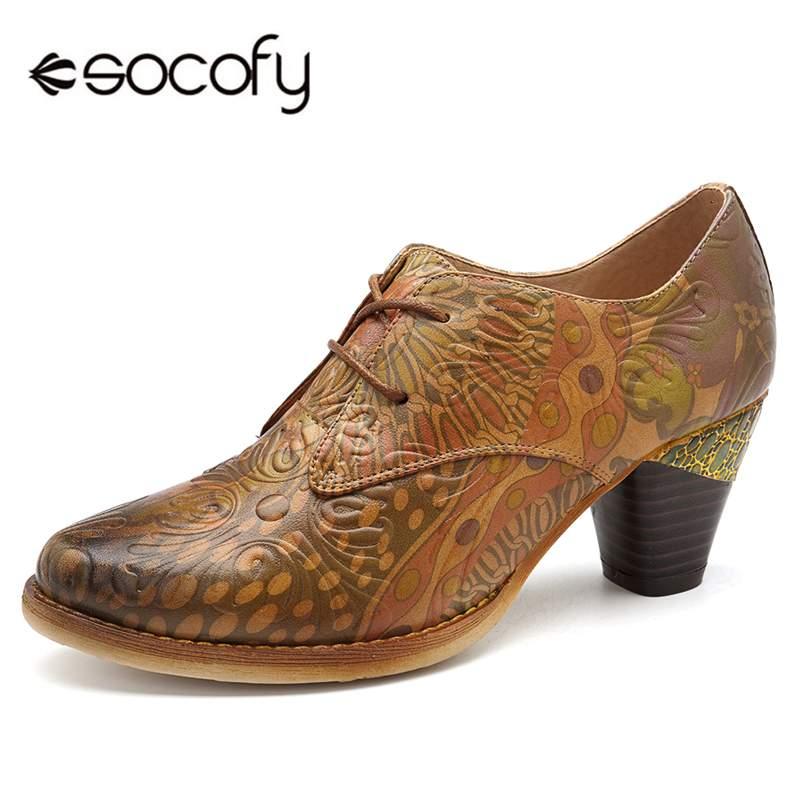 4adb4377 Primavera Altos Mujer Cuero bloque Moda 2019 Encaje Casuales Zapatos Marrón  Socofy Las Retro Tacones Impreso Mujeres Genuino ...