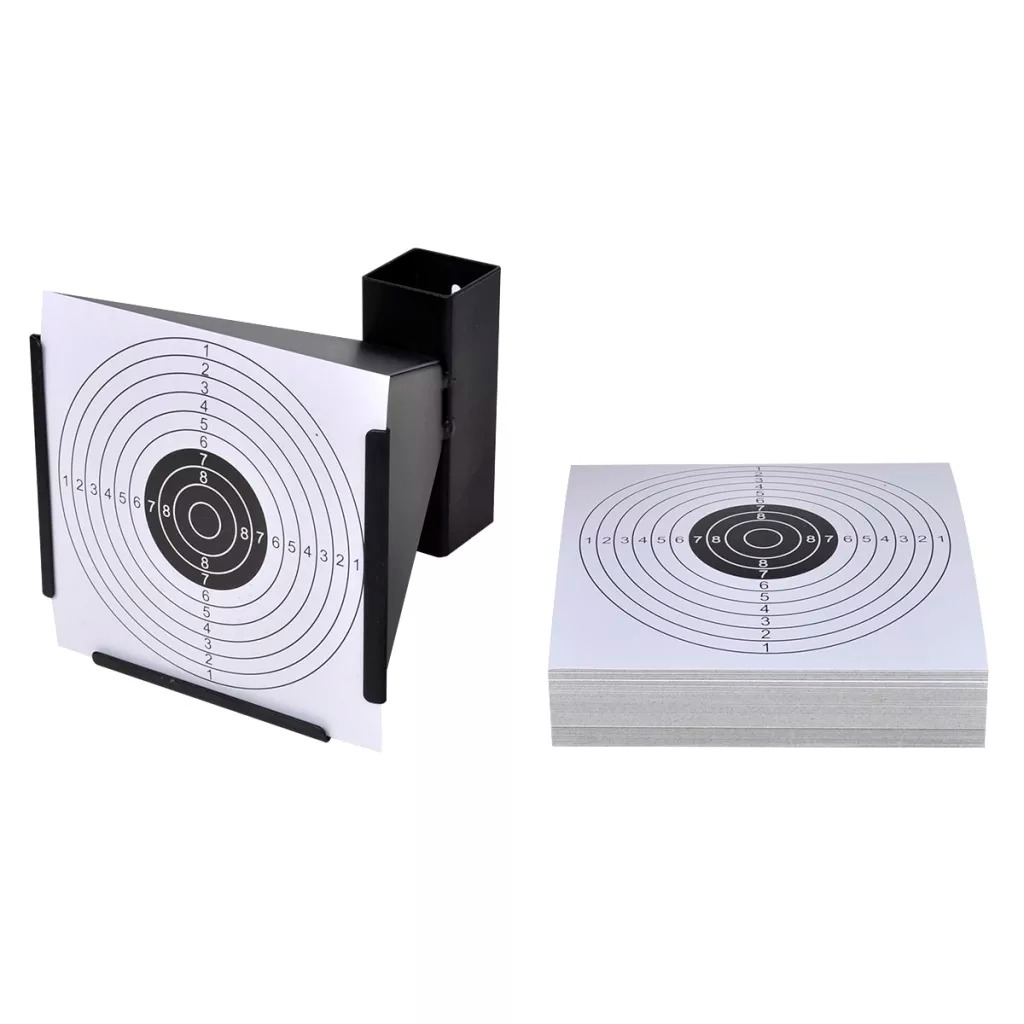14 Cm Funnel Target Holder Pellet Trap + 100 Paper Targets For Air Rifle/Airsoft Shooting High-Quality Funnel Pellet Trap