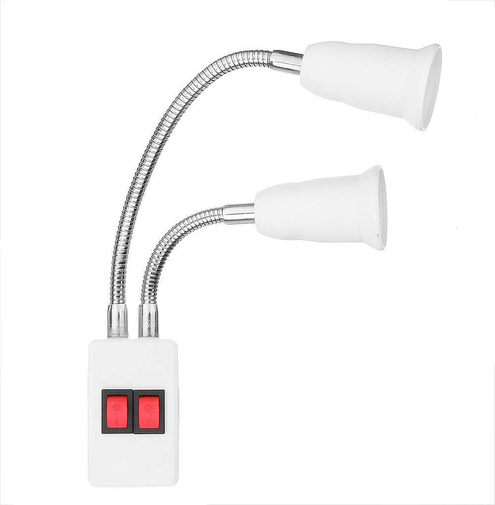 CLAITE E27 патрон лампы адаптер 4A Двойные головки E27 патрон лампы адаптер с кнопкой переключателя с EU US UK вилкой AC100-250V