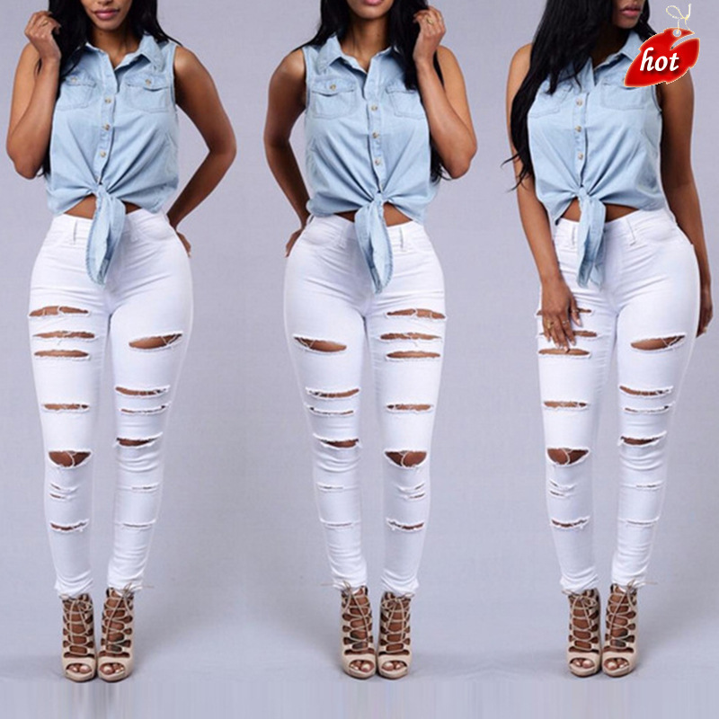 Summer Style White Hole Cool Denim High Waist Pants Capris Female Skinny Black Casual Jeans  Ripped Jeans Women O8R2