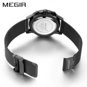 Image 2 - MEGIR ساعة الرجال الفولاذ المقاوم للصدأ الكوارتز الرجال الساعات ساعة كرونوغراف ساعة الرجال Relogio Masculino للذكور الطلاب Relogios