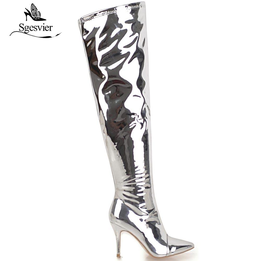 Botas Plata La Mujeres Muslo Zip Sgesvier Mujer Altos Tamaño 48 Sexy Rodilla Zapatos Tacones Sobre 30 Invierno Glitter dO6w60qX