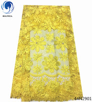 Beautifical eyelet crochet lace fabric nigerian lace fabric with rhinestone yellow african lace fabric with cord laces 44N29