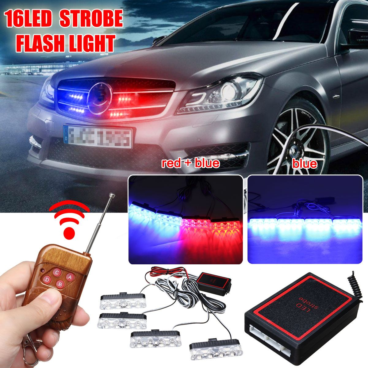 16 LED Strobe Flash Light 12V Car Truck Emergency Warning Lamp Day Running Polices Lights With Remote Control