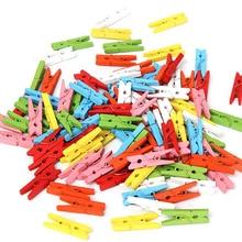 100 pces/1 conjunto 25mm mini cor de madeira artesanato estacas roupas foto papel pendurado primavera clipes clothespins