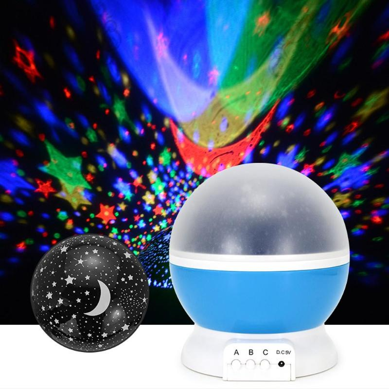 3 Modes Creative Star Moon Projector Night Light Star 360 Rotating Full Night Sky Ceiling Walls Projection Lamp Moving Star Lamp
