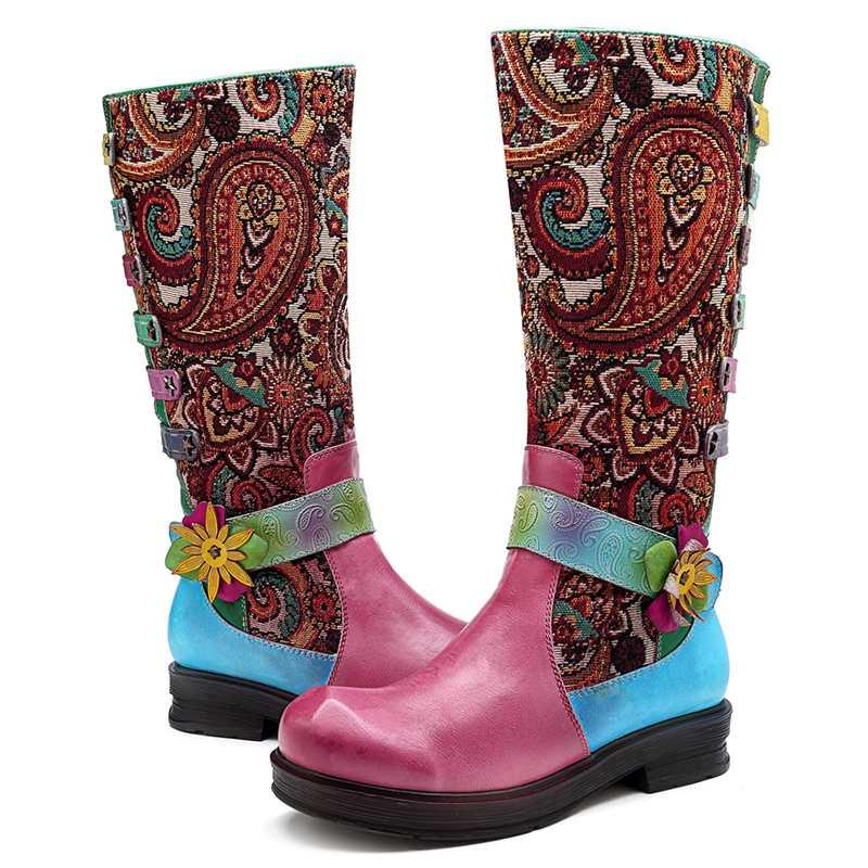 mollet Boot Bohème Rétro Fleur Socofy Femme Jacquard D'hiver Véritable En Femmes Zipper Pour Mujer vin Chaussures Mi Rouge Épissage Bottes Cuir Vert Botas Yf7gb6vy