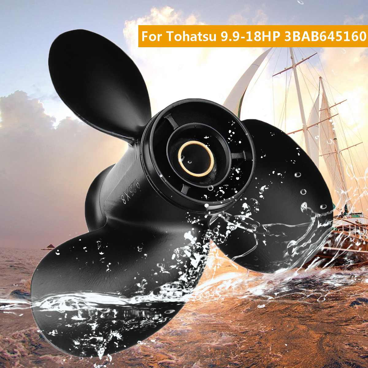 3BAB645160 9.25 X 8 Outboard Propeller For Tohatsu-Mercury 9.9-20HP Black Standard Rotation Aluminum 3 Blades 14 Spline Tooth