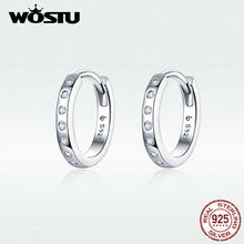 WOSTU Simple Ear Clip Stud Earrings For Women Hot Fashion Authentic 925 Sterling Silver CZ Earring Making Fashion Jewelry DAE101(China)