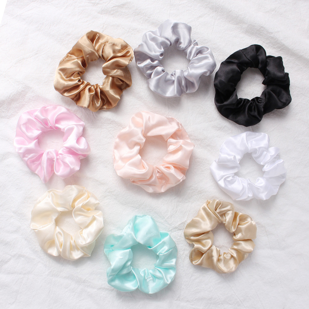 Silky Satin Elastic Hair Bands Scrunchies Elastic Solid Color Hair Tie Rope Ring Ponytail Simple Style   Headwear   Summer Pink Grey