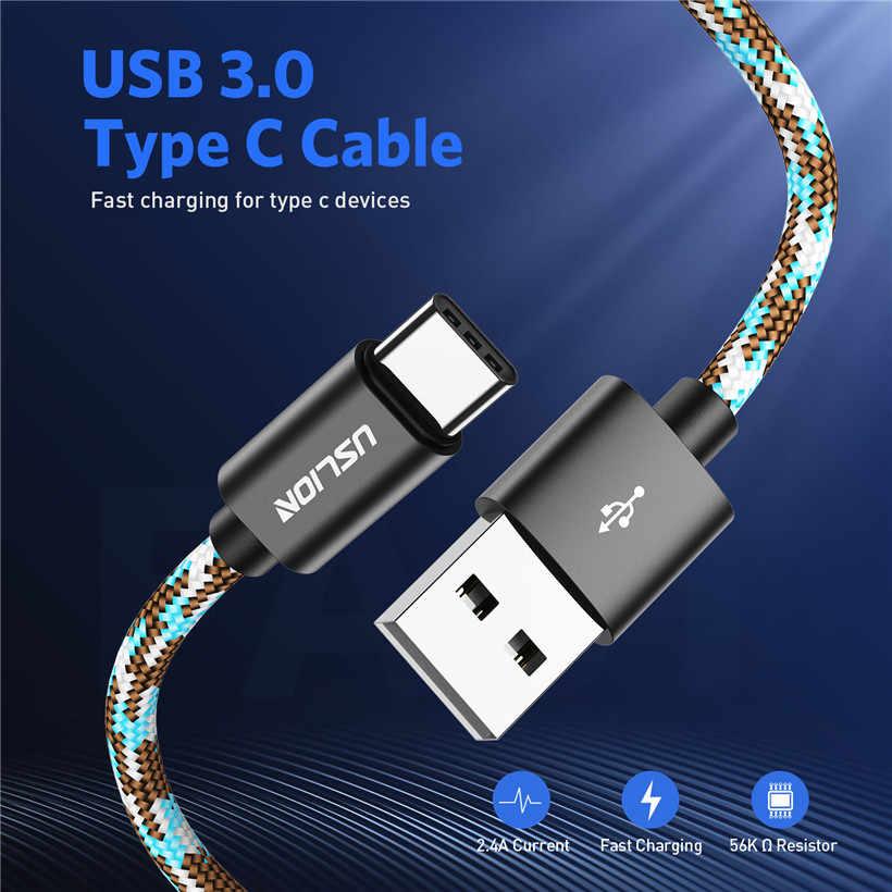 USLION USB نوع C كابل علامة هواوي P20 سامسونج S9 USB C سريع شحن كابل بيانات ل Xiaomi Mi8 F1 Oneplus 6 5 طن نوع-c شاحن