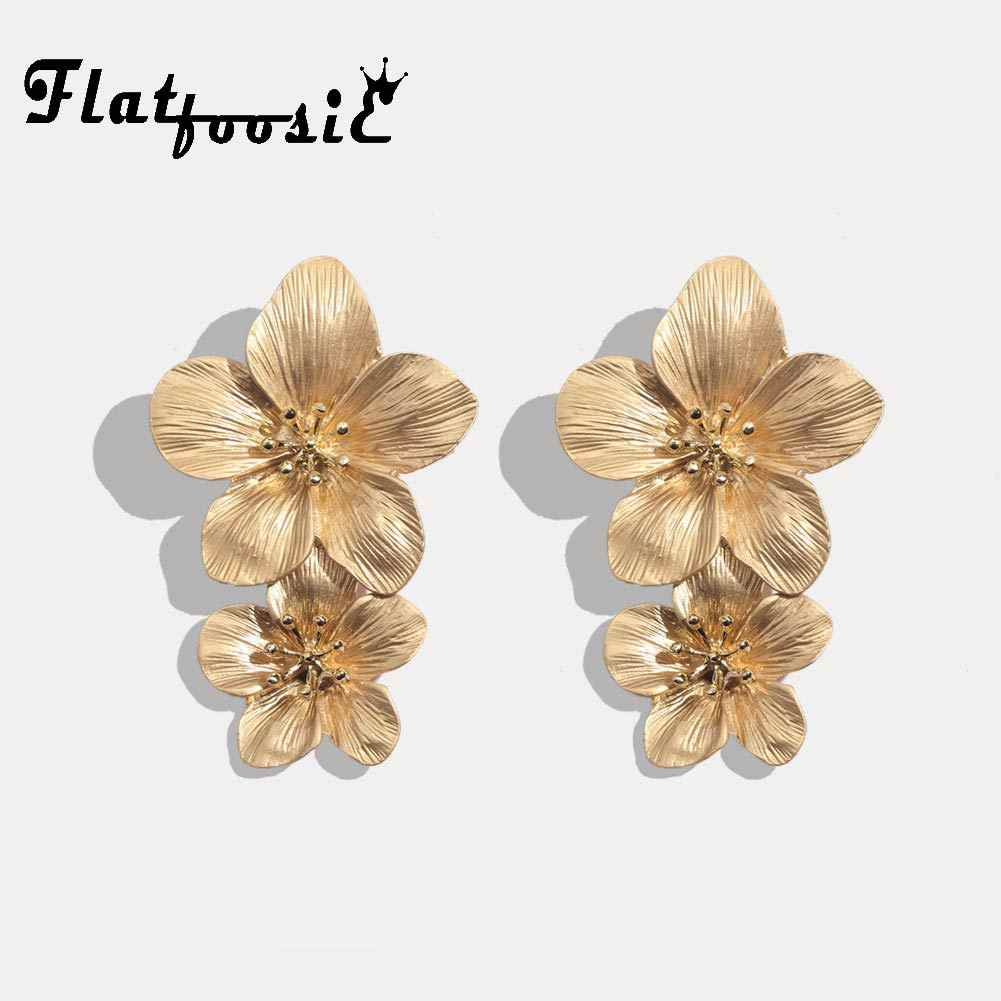 Flatfoosie Fashion Geometric Long Stud Earrings For Women Wedding Vintage Flower Gold Color Punk Statment Gifts Earrings Jewelry