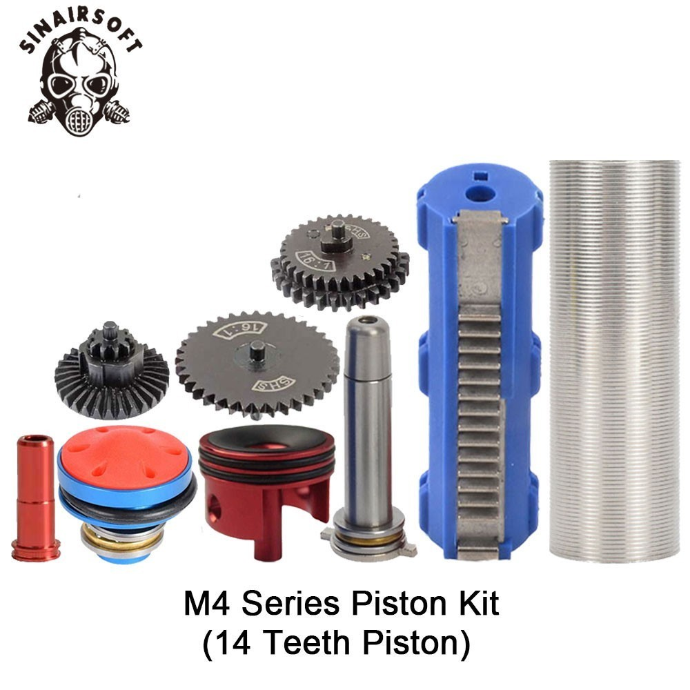 SHS 16:1 Gear Nozzle Cylinder Spring Guide 14 Teeth Piston Kit Fit Airsoft M4 M16 AK For Paintball Shooting Hunting Accessories