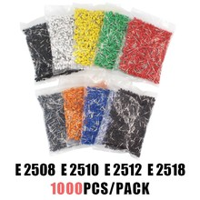 1000pcs/Pack E2508 E2510 E2512 E2518 Insulated Cord End Terminal Wire Connector Crimp Ferrules Crimping Tubular AWG#14