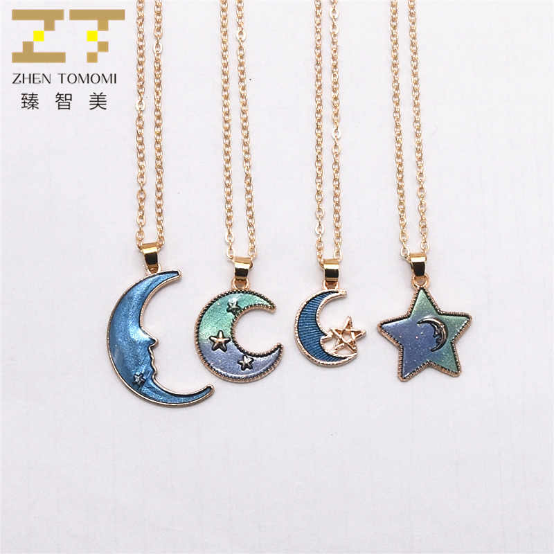 2018 Fashion Starry Sky Necklace Collares Dream Girl Heart Star Moon Pendants Maxi Statement Chokers Necklace For Women Jewelry