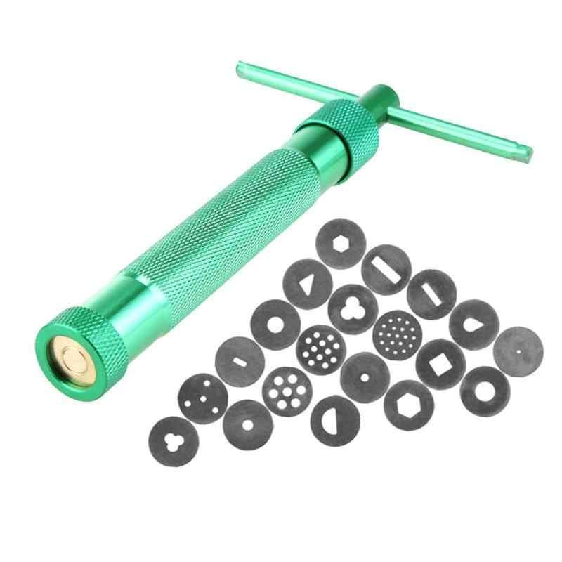 Thép không Gỉ Đường Dán Đùn Craft Gun Với Tiện Ích 20 Đĩa Fimo Đất Sét Đùn Craft Fondant Bánh Slime Putty Công Cụ
