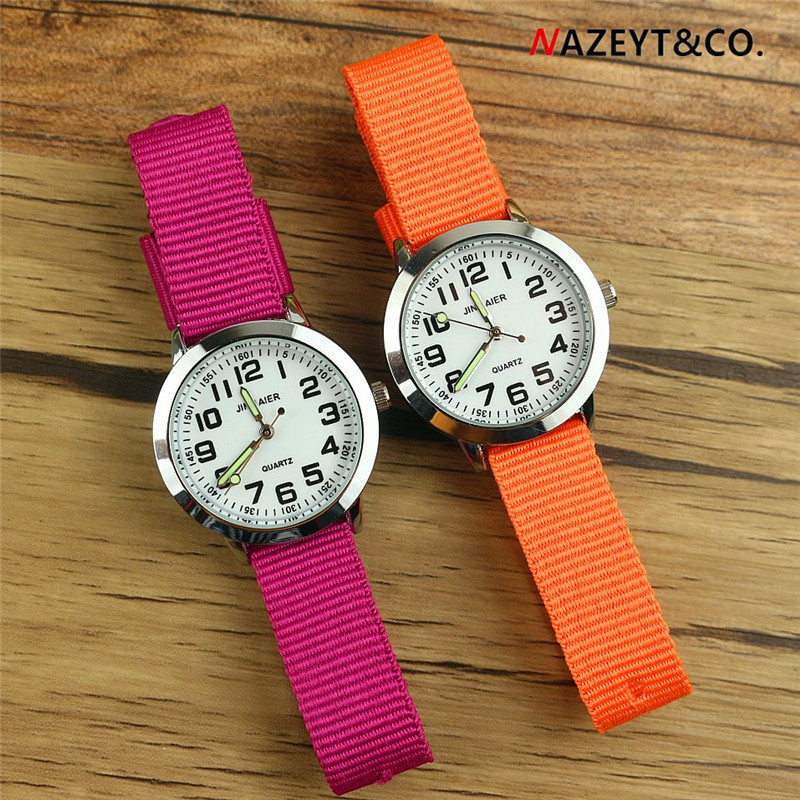 Nazeyt Children Sports Watch Simple Dial Easy Learn To Time Little Boys Girts Luminous Hands Nylon Strap Quartz Reloj Infantil