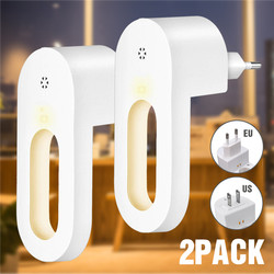 Luces LED nocturnas enchufables, 2 uds., Blanco cálido, Sensor de anochecer y Amanecer, para dormitorio, baño, cocina, pasillo, escaleras, enchufe europeo/estadounidense