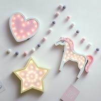 Cartoon girl/baby bedroom decorative wall lamp Heart nightlight dropshipping unicornio night light cloud star led desk luminaria