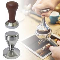Novo aço inoxidável mogno café adulteração barista máquina de café espresso manual em pó martelo moedor café chá conjunto|Compactadores de café| |  -