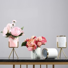 Nordic Minimalist Marble Ceramic Gold large Vase Tabletop Plant Iron Metal Flower Pot Stand Office Wedding Home Garden Deco