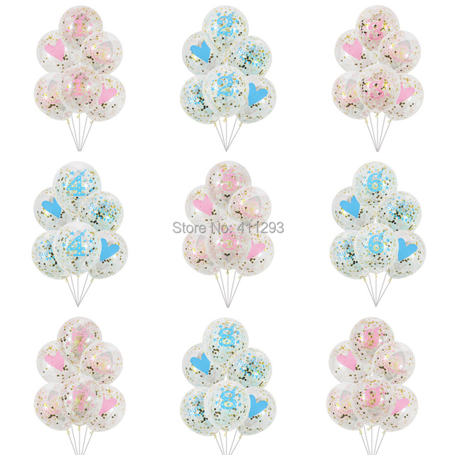 6 pcs/lot girl boy kids birthday ballons 1 2 3 4 5 6 7 8 9 years old birthday party decoration clear confetti birthday balloons